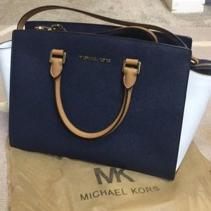 Handbags - MK two tone Navy/white large satchel